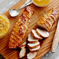 Grilled Pork Tenderloin w/ Guava Glaze & Orange-Habanero Mojo