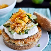 Shrimp Burgers with Chipotle Cream and Coconut Peach Salsa
