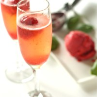 Strawberry Basil Sorbet Bellini
