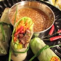 Thai-Italian Spring Rolls w/ Peanut Dipping Sauce