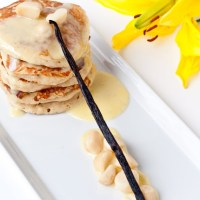 Banana Macadamia Nut Pancakes with White Chocolate Crème Anglaise