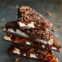Whiskey Marshmallow and Caramel Bacon Bark