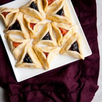 Apricot and Blackberry-Marzipan Hamantaschen