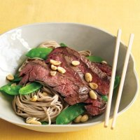 Asian Noodle Bowl with Steak and Snow Peas