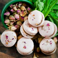 Rose and Basil-Dark Chocolate Macarons