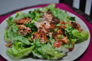 Salmon Salad with Watercress Dressing