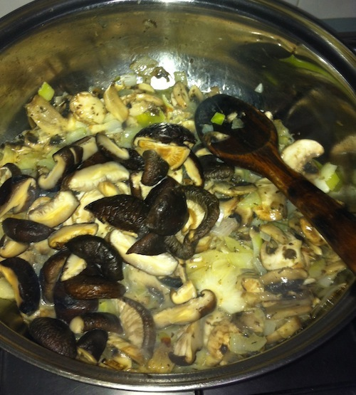 Add Rehydrated Dry mushrooms.