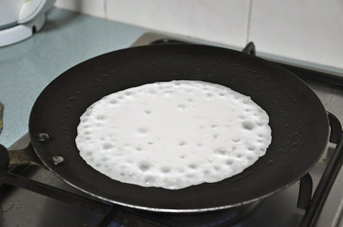 Pour onto pan and cook covered