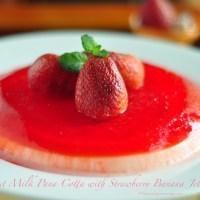 Coconut Milk Pana Cotta with Banana Strawberry Jelly