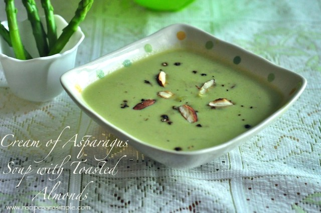 cream of asparagus soup with toasted almonds