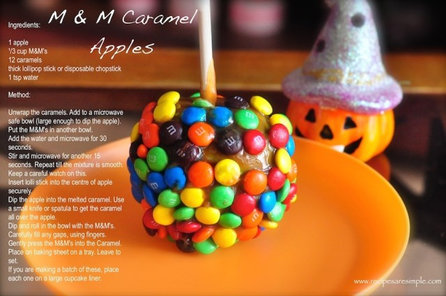 M & M Caramel Apples recipe card
