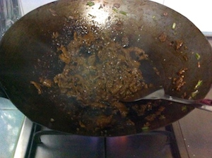 cook till dry beef for beef fried rice