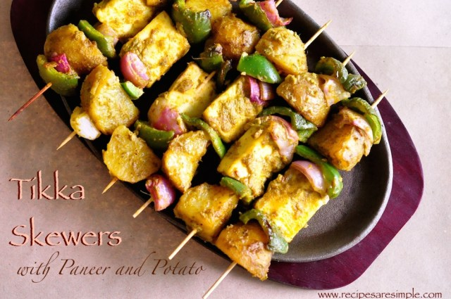 Paneer and Potato Tikka Skewers