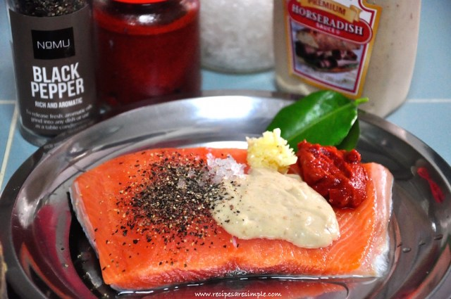 Baked Salmon with Horseradish Sauce steps