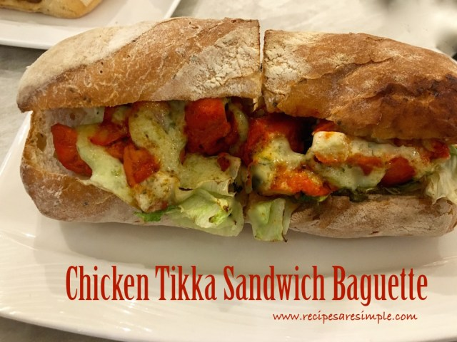 chicken tikka sandwich baguette