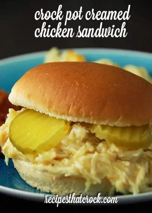 Crock Pot Creamed Chicken Sandwich