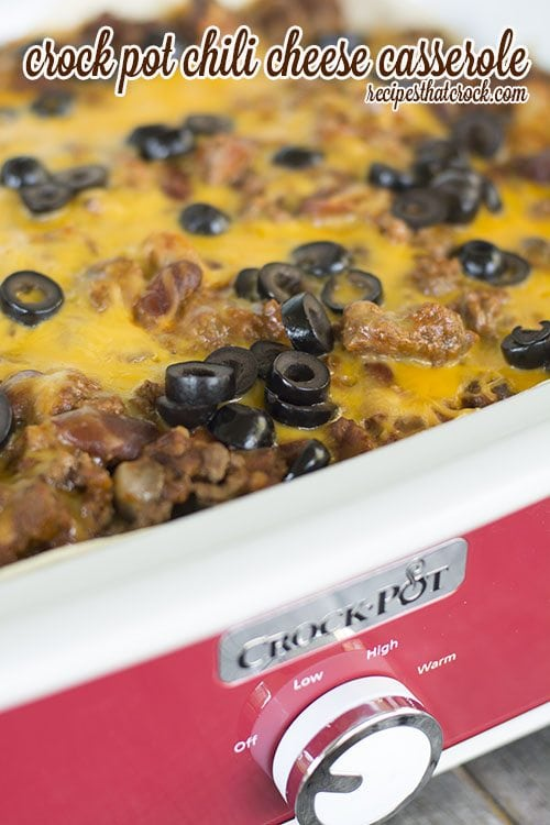 Does your family love those Chili Cheese Burritos from Taco Bell? This Crock Pot Chili Cheese Casserole has a lot of the same flavors but is dished up in a layered casserole that will have the family asking for seconds!