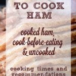 How Long to Cook Ham Infographic - There are many factors that determine cooking times for ham, including everything from how it was prepared to where it was packaged. Cooking times for labels cook-before-eating, cooked and uncooked hams. Oven and Crock Pot times provided.