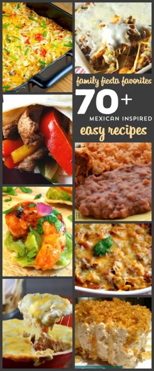 Over 70 Delicious EASY Mexican Inspired Dishes. From tacos to burritos to enchiladas, casseroles, dips and fried ice cream, this is THE list of incredible easy dishes for anyone that wants a new twist on taco night! Many of them are crock pot recipes too!