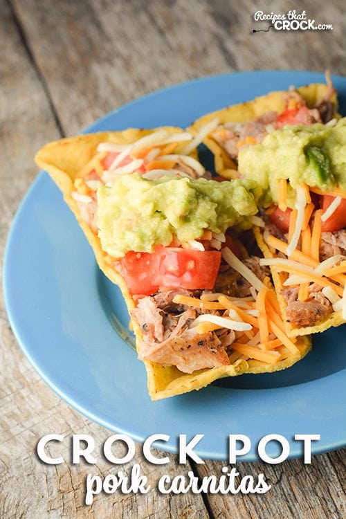 Are you looking for a super easy way to make a lot of meat for tacos, enchiladas and quesadillas? This Crock Pot Pork Carnitas recipe is our all time favorite!