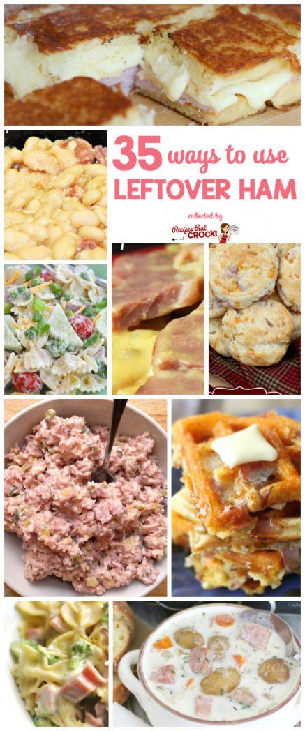 35 Ways to Use Leftover Ham! Great Leftover Ham Recipes like Ham and Beans, Cheesy Scalloped Ham and Potatoes, Ham Fried Rice, Ham Salad, Ham Waffles, Pasta Salad, Casseroles and more!