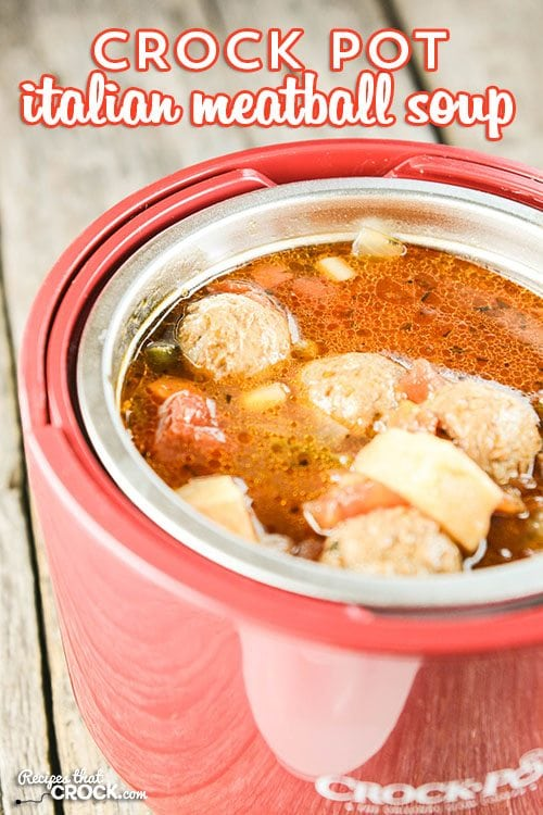 Meatballs aren't just for subs and appetizers anymore! This Crock Pot Italian Meatball Soup is super easy to make and has everyone asking for more!