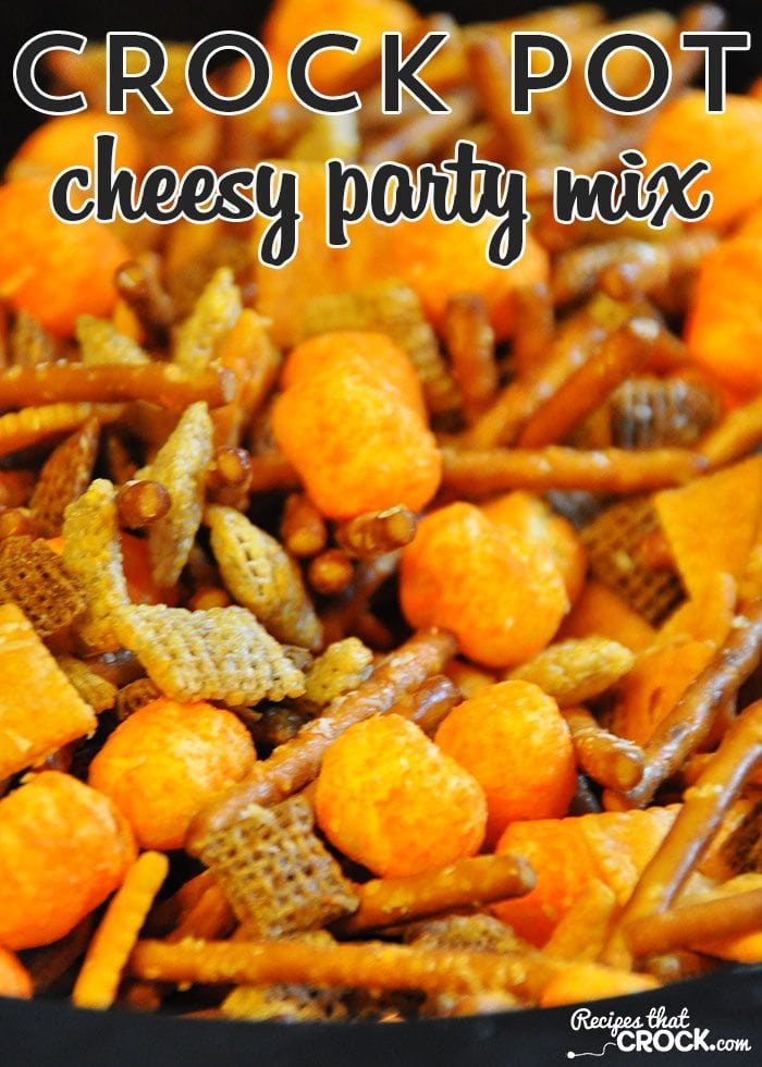 This Crock Pot Cheesy Party Mix is great for a party or just to have around the house to munch on!
