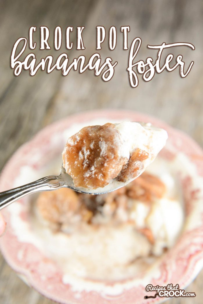 This Rumchata Crock Pot Bananas Foster Recipe takes the classic recipe up a level with the addition of deliciously creamy Rumchata. The result is a perfect crock pot dessert recipe to serve with ice cream after family dinner.