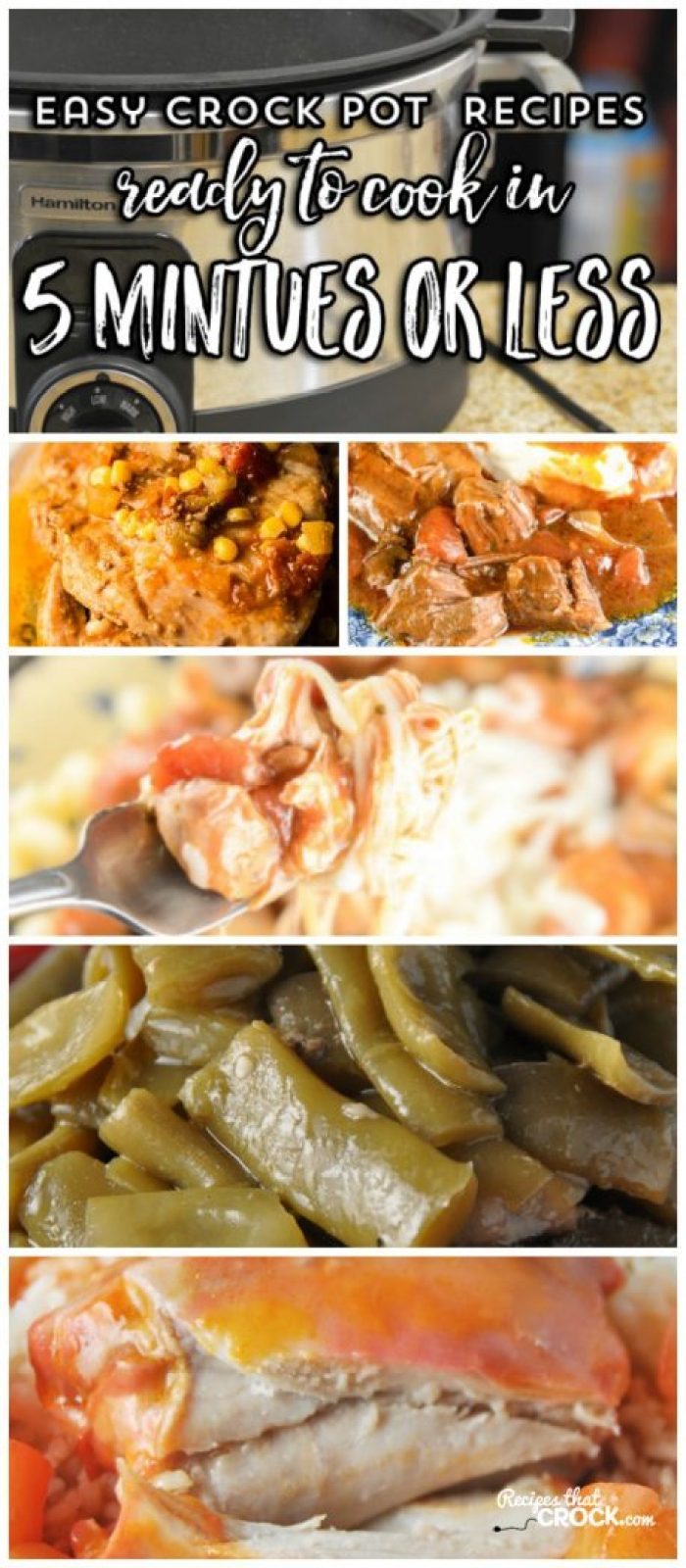 These easy crock pot recipes can be prepared in 5 minutes or less! Italian Beef Roast, Fiesta Pork Chops, One Pot Sausage Dinner, Catalina Chicken, Spanish Rice, Fiesta Mac and Cheese, Crock Pot Green Beans, Slow Cooker Beans and Weenies and more! These recipes make busy back to school days so much easier and are a great way to use up your pantry canned food staples. #Ad #CansGetYouCooking