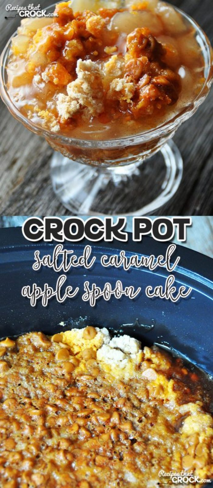 Salted caramel and apple were two flavors that were made for each other, so I couldn't help but make a Crock Pot Salted Caramel Apple Spoon Cake!