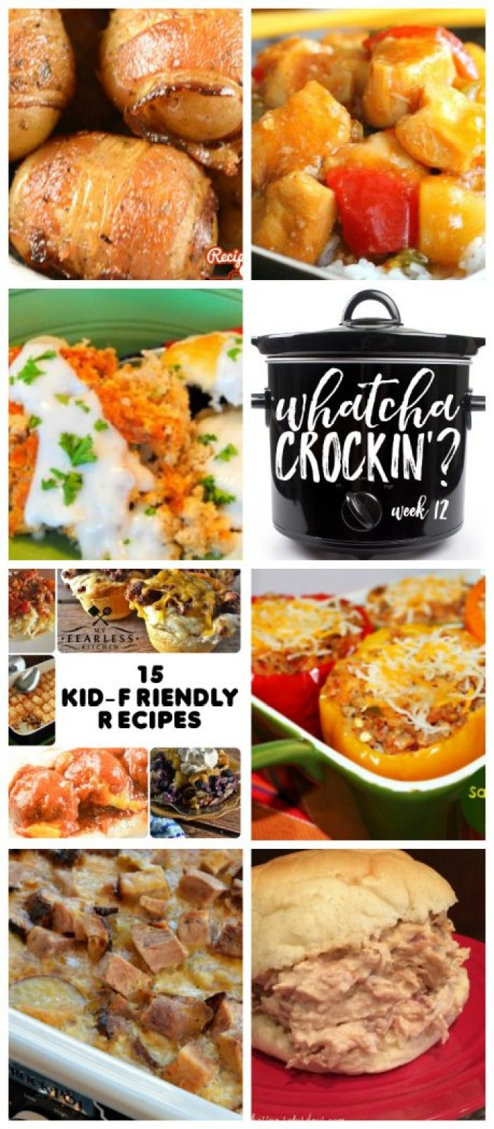 This week's Whatcha Crockin' crock pot recipes include 15 Kid Friendly Recipes, Crock Pot Fiesta Crack Chicken, Crock Pot Bacon Taters, Slow Cooker Sweet and Sour Chicken, Slow Cooker Country Breakfast with White Pepper Gravy and Biscuits, Crock Pot Scalloped Potatoes with Ham, Slow Cooker Sausage Stuffed Peppers and much more!