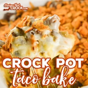 Crock Pot Taco Bake is an delicious adaptation of our popular oven recipe. Layers of chili cheese fritos, taco meat, cheese sauce, shredded cheese and more fritos bake up into a delicious casserole we love to serve over a bed of lettuce with all our favorite taco toppings! #sponsored