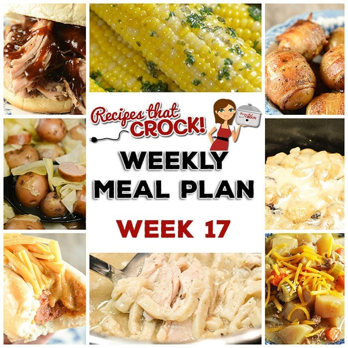 This week's weekly menu features Crock Pot Smoked Sausage, Cabbage and Potatoes, Pressure Cooker Chicken and Noodles, Crock Pot Sausage Potato Soup, Easy Crock Pot Shredded Pork, Crock Pot Bacon Taters, Crock Pot Chili Cheese Dogs, Crock Pot Corn on the Cob, Sweet and Tangy Crock Pot Baked Beans, Crock Pot Cranberry Orange Roll Casserole and Crock Pot Vanilla Sour Cream Cake.