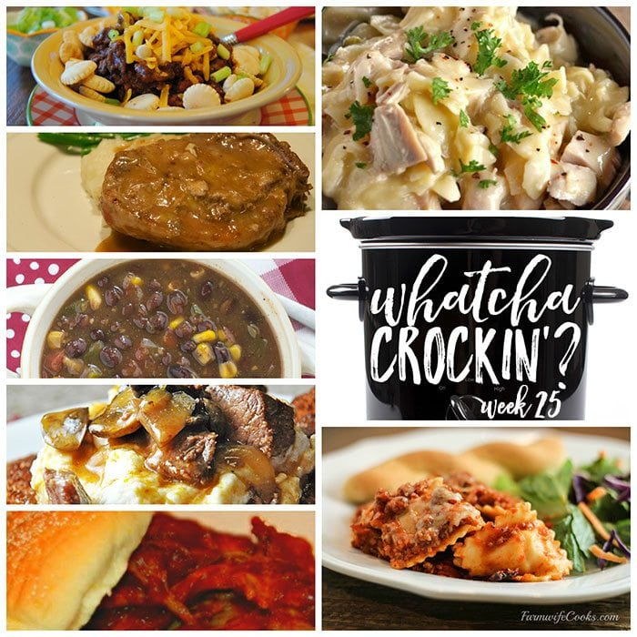This week's Whatcha Crockin' crock pot recipes include Slow Cooker Chicken and Noodles, Slow Cooker Cincinnati Chili, Sherried Beef Manhattan, Slow Cooker Cheesy Ravioli Casserole, Crock Pot Black Bean Corn Soup, Crock Pot Pepsi Pork Chops, Slow Cooked Pulled Pork Barbecue and much more!