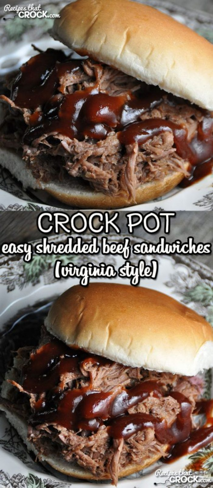 In the mood for a savory beef sandwich that is a snap to make and incredibly flavorful and tender? Check out these Crock Pot Shredded Beef Sandwiches (Virginia Style)!