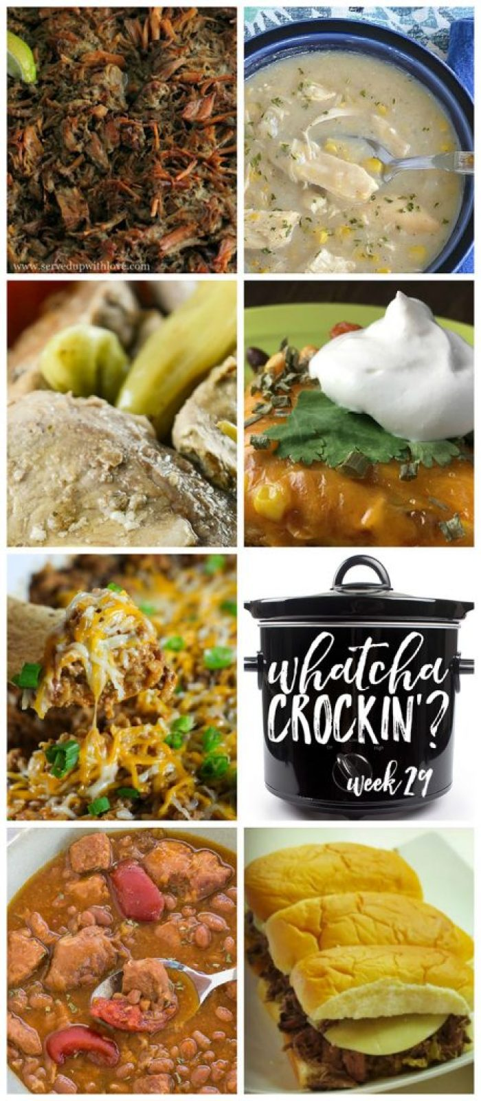 This week's Whatcha Crockin' crock pot recipes include Crock Pot Spicy Enchilada Stack, Crock Pot Pork Baked Bean Soup, Crock Pot Beef Enchilada and Rice Dip, Slow Cooker Carnitas, Slow Cooker Italian Beef, Crock Pot Chicken Corn Chowder, Crock Pot Mississippi Pork Chops and much more!