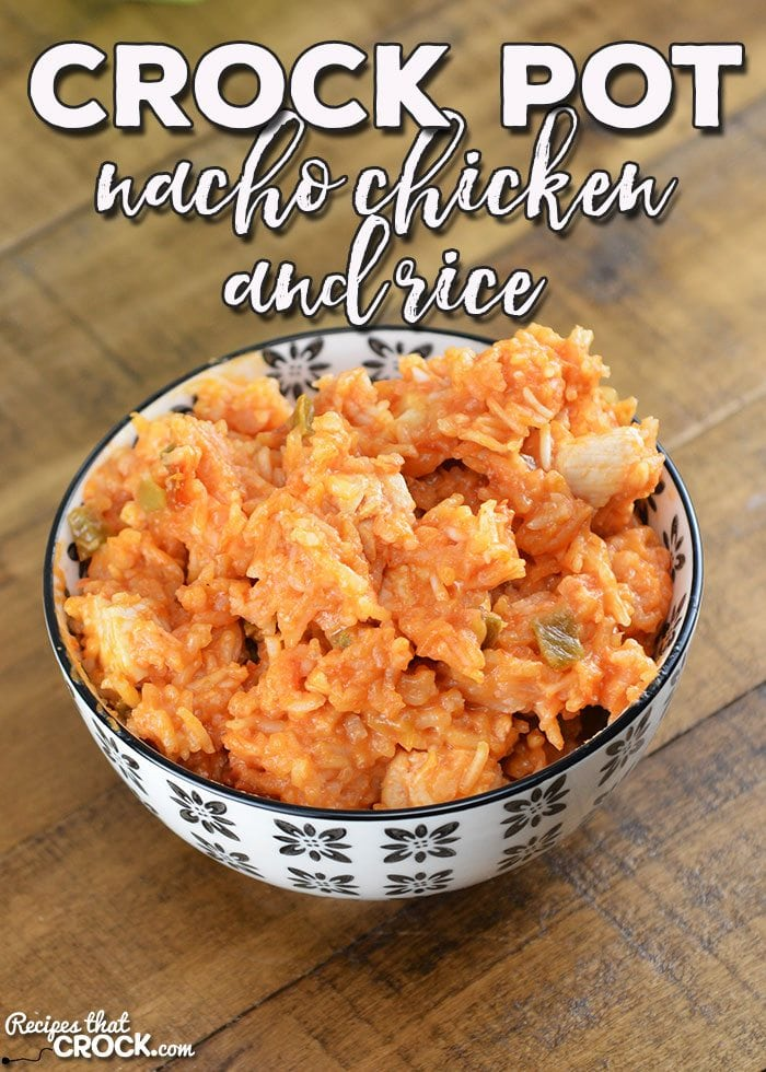 Are you looking for a recipe you can throw together in 5 minutes for a delicious fiesta night? Then I have a treat for you! This Crock Pot Nacho Chicken and Rice is super yummy!