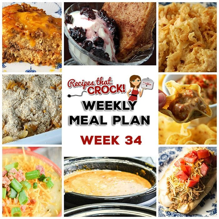 This week's weekly menu features Slow Cooker French Dip Pork Roast, Crock Pot Cheesy Ranch Potatoes, Crock Pot Cheesy Chicken Penne, Cheesy Crock Pot Loaded Cauliflower Soup, Crock Pot Taco Joes, Crock Pot Chili Cheese Dogs, Crock Pot Mixed Berry Cobbler, Bacon Cheeseburger Crock Pot Dip and Savory Breakfast Casserole.