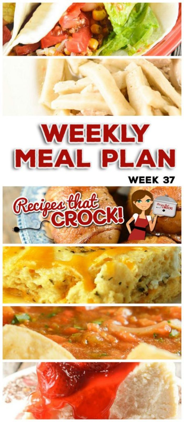 This week's weekly menu features Crock Pot Brown Sugar Pineapple Pork Roast, Crock Pot Broccoli Cheese Casserole, Crock Pot Beefy Tex Mex Tacos, Crock Pot Homemade Salsa, Slow Cooker Chicken Noodles, Crock Pot Seafood Gumbo, Easy Crock Pot Chicken Dinner for Two, Crock Pot Cheese Souffle, Crock Pot Bacon Taters, Crock Pot Cheesecake.