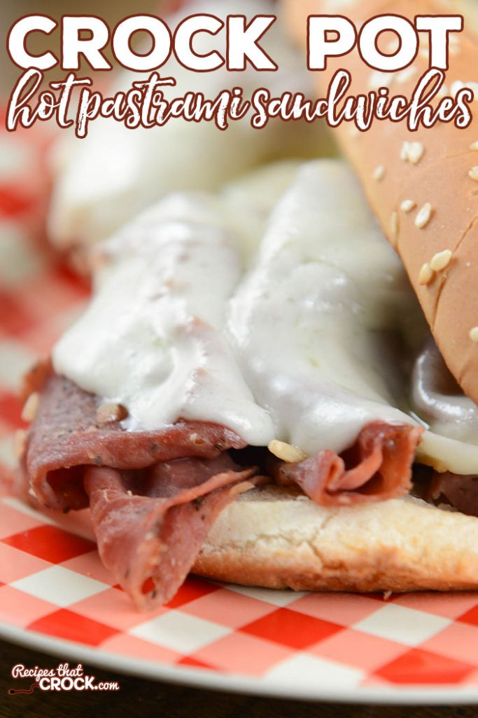 Crock Pot Hot Pastrami Sandwiches are great for a deliciously savory meal or to share at a potluck or serve while tailgating.