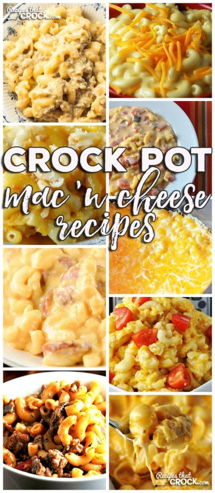 This week for our Friday Favoriteswe have some yummy Crock Pot Mac 'n Cheese Recipes like Crock Pot Smoked Sausage Mac 'n Cheese,Old Fashioned Crock Pot Mac 'n Cheese,Crock Pot Golden Mac n Cheese,Crock Pot Beefy Mac, Crock Pot Fiesta Mac 'n Cheese, Creamy Crock Pot Mac 'n Cheese, Extra Cheesy Crock Pot Mac 'n Cheese, Beefy Mac 'n Cheese & Crock Pot Cheese Lover's Shells!