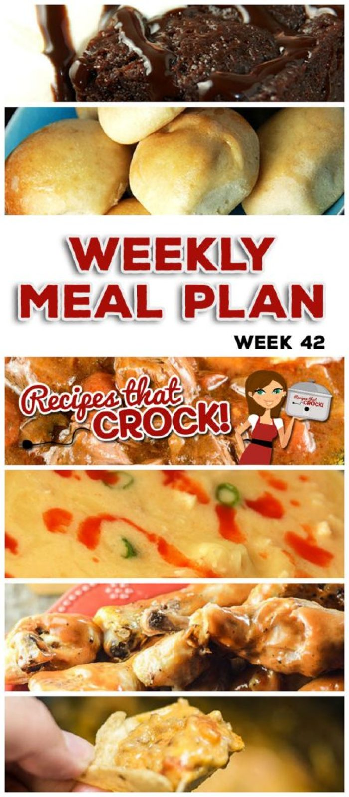 This week's weekly menu features Crock Pot Italian Pot Roast, Crock Pot Dinner Rolls, Crock Pot Root Beer Pulled Pork, Crock Pot Buffalo Chicken Soup, Crock Pot BBQ Ranch Chicken Legs, Crock Pot Pizza Burgers, Crock Pot Peanut Butter Jelly Casserole, Quadruple Chocolate Crock Pot Cake and Crock Pot Sausage Cheese Dip.