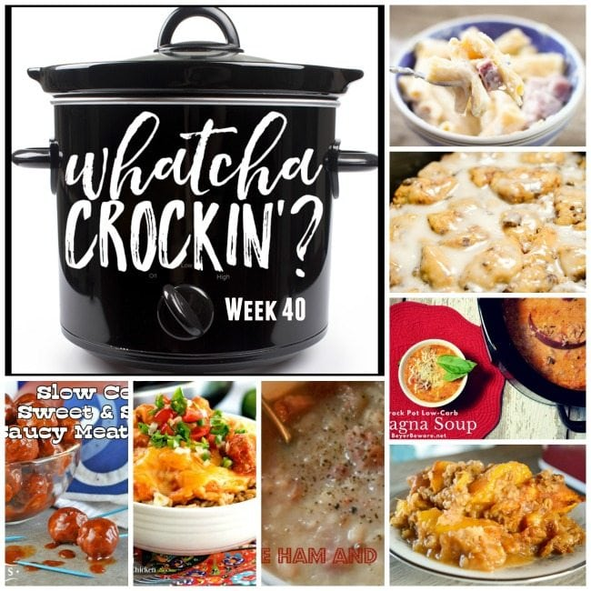 Do you love crock pot recipes as much as I do? This week's Whatcha Crockin' Wednesday includes: Crock Pot Ham and Cheese Pasta Bake, Crock Pot Cinnamon Roll French Toast, Crock Pot Low Carb Lasagna Soup, Crock Pot Peach Cobbler, Crockpot Cheesy Salsa Chicken, Slow Cooker Sweet and Spicy Saucy Meatballs, Crockpot Simple Ham and Bean Soup.