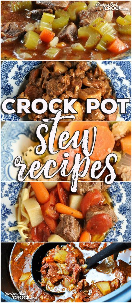 This week for our Friday Favoriteswe have some delicious Crock Pot Stew Recipes for you, includingCrock Pot Beef Stew,Crock Pot Chuck Wagon Stew,Crock Pot Italian Hobo Stew,Crock Pot Savory Beef Stew andEasy Crock Pot Beef Stew!
