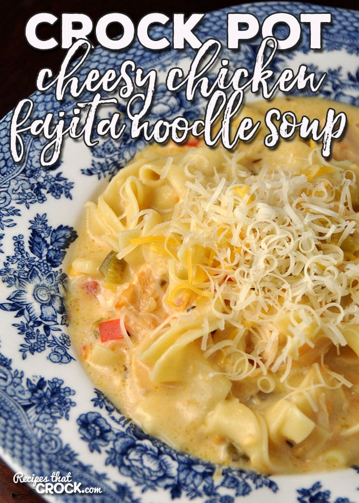 This Crock Pot Cheesy Chicken Fajita Noodle Soup is super easy to make and has a fabulous flavor that will have young and old alike singing it's praises!