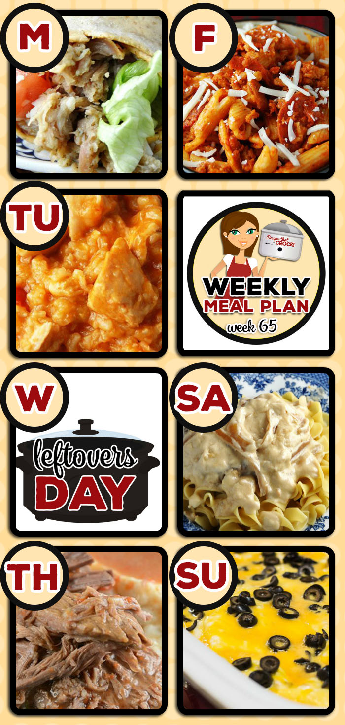 This week's weekly menu features Crock Pot Ranch Chicken Wraps, Cheesy Salsa Crock Pot Chicken Rice, Crock Pot Split Pea Soup, Slow Cooker Pepperoni Pizza Penne, Crock Pot Chicken Enchiladas, Crock Pot Steakhouse Loaded Potatoes, Crock Pot Red Gravy Pot Roast, Crock Pot Parmesan Broccoli Cauliflower, Crock Pot Pork Chop Delight, Creamy Crock Pot Corn, Slow Cooker Sausage Gravy, Crock Pot Marble Brownies and Crock Pot Chili Cheese Dip.