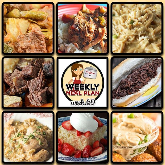 This week's weekly menu featuresEasy Crock Pot Teriyaki Chicken, Creamy Chicken Spaghetti {Crock Pot},Slow Cooker Beef Stew (Low Carb),Crock Pot Chicken and Herbed Rice, Zesty Shredded Crock Pot Pork,Easy Crock Pot Beef French Dips,Crock PotPot Roast and Dumplings,Crock Pot Creamy BBQ Ranch Dip,Crock Pot Strawberry Shortcake andCrock PotCaramel Pecan Rolls.