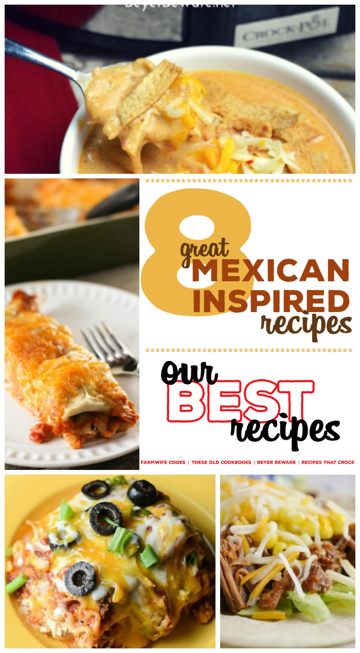 Are you looking for great Mexican-inspired recipes? Our Best Recipes Series continues with dishes like Burrito Style Beef Enchiladas, Crock Pot Low-Carb Chicken Tortilla Soup, Crock Pot Mexican-Inspired Lasagna, Taco Bake, Crock Pot Low-Carb Taco Soup, Crock Pot Ground Beef Acapulco Enchiladas, Crock Pot Tex Mex Chicken Tacos and Electric Pressure Cooker Taco Beef.