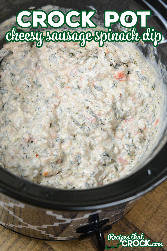 Are you looking for a delicious crock pot party dip? This Crock Pot Cheesy Sausage Spinach Dip is a yummy twist on traditional sausage cheese dip and it is low carb too!