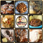 This week's weekly menu features Crock Pot BBQ Chicken Flatbreads, Crock Pot Chicken Enchiladas, Crock Pot Steak Mushroom Soup, Easy Crock Pot Ham, Slow Cooker Stuffing, Crock Pot Lasagna, Easy Crock Pot Honey Pork Steaks, Old Fashioned Crock Pot Lima Beans and Ham, Crock Pot Upside Down Blueberry Lemon Cake, Crock Pot Hot White Chocolate and Crock Pot Oatmeal Raisin Cookie Overnight Oats.